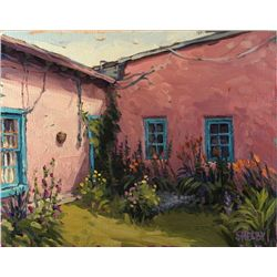 Shelby Keefe,  Pink Adobe, Oil on Canvas