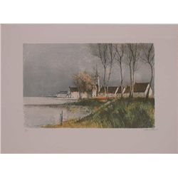 Jacques Lancelle, The Village, Signed Lithograph