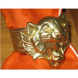 Art Nouveau Panther Tiger Brass Bracelet