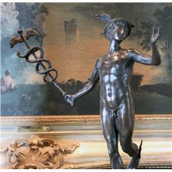 Superb Nude Mercury and Caduceus Bronze Sculpture