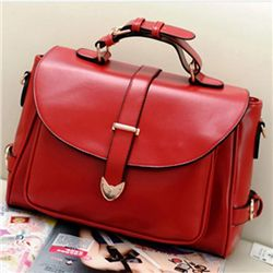 Fashion Retro Messenger Red Leather Bag