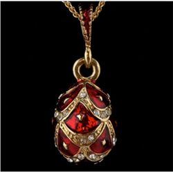Red Enameled Faberge Inspired Egg Pendant