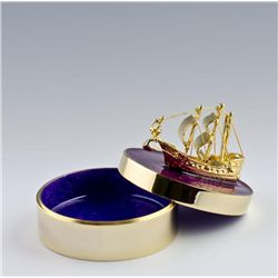 Golden Nautical Faberge Inspired Jewelry Box