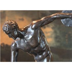 Standout Male Nude Discus Athlete Bronze Sculpture