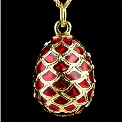 Red Pine Cone Faberge Inspired Egg Pendant