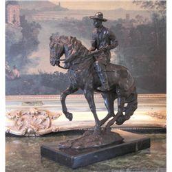 Stunning Bronze Sculpture Cowboy on Horseback