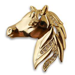 Stunning Equestrian Golden Crystal Brooch
