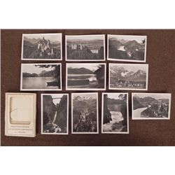 10 PRE-WWII GEMAN FOLDER PHOTOS OF CASTLES & ALPS