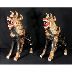 2 Old Thai Temple Dogs Guardian Dragons Thailand 34 In.