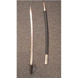Indian Vintage Sword w/Engraved Blade, Scabbard