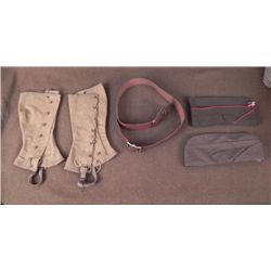 WWII US GROUPING-OFFICER'S LEATHER BELT-2 CAPS,LEGGINGS