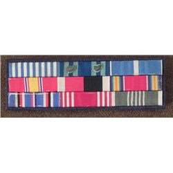 LARGE U.S. RIBBON BAR CLUSTER MOUNTED-9 RIBBONS-3 CLUTC