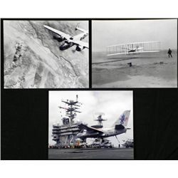 3 Photos Wright Brothers, WWII Bombing, Bush Aircraft