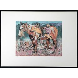 Everett Hibbard Signed Art Print Hunter Horse