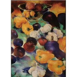 Diane French Gaugush Art Print Plums w/ Yellow Peppers