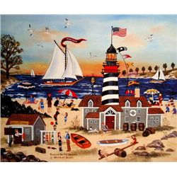 Jane Wooster Scott Signed Beacon on the Beach Print