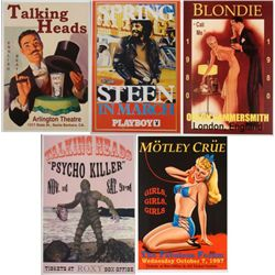 5 Reproduction Rock Posters- Motley Crue Talking Heads