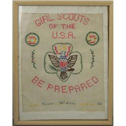 Girl Scouts Vintage Needlepoint Sign Framed