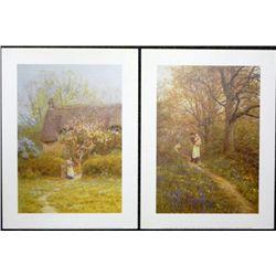 2 Helen Allingham Prints Bluebells, Cottage Freshwater
