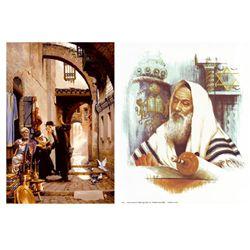 2 Judaic Art Prints Maher Marcos, E. Walsh -Scrolls