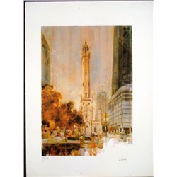 Dan Lotts Signed Art Print Chicago Water Tower
