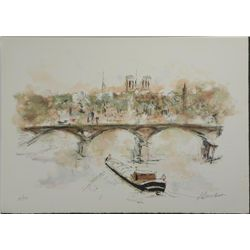 Urbain Huchet Signed and Numbered Litho Print Pont Neuf