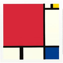 Piet Mondrian Composition Red Blue Yellow Serigraph Art