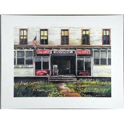 Carolann Dvorak Signed Charming Country Store Art Print