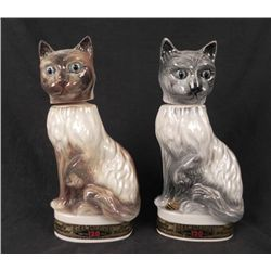 2 Jim Beam Vintage Cat Decantors from 1967