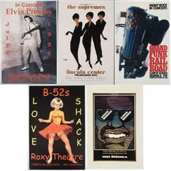 5 Concert Repro Posters Elvis, Grand Funk, Supremes