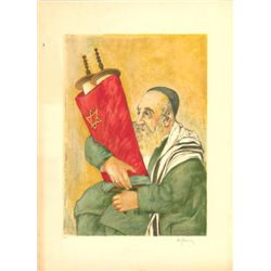 Rabbi Holding Torah Signed European Artist Proof Print