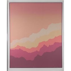 Aman Rainbow Ridge II Signed Abstract Art Print