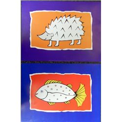 2 Childrens Animal Art Prints by Angela Hedgehog, Fish