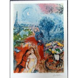 Marc Chagall Lovers in Paris Romantic Art Print
