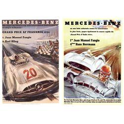 2 Advertising Prints Mercedes Italian French Grand Prix