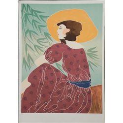 Gina Lombardi Signed Art Print Woman in Yellow Hat