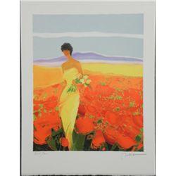 Emile Bellet Champ de Fleurs S/N Lithograph Print