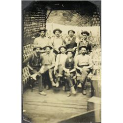 Antique Tintype Photograph Group 9 Men Outdoor Rare