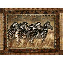 Robert Hefferan Zebras Metallic Foil Art Print