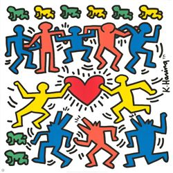 Keith Haring Dancing Around Heart Art Print