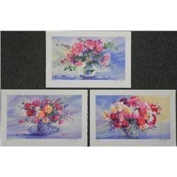 3) Claude Mars Flower Boquet S/N Lithograph Prints
