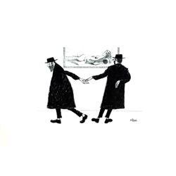 J Herr Two Rabbis Offset Lithograph Print