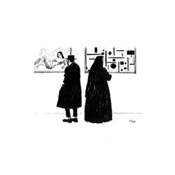J Herr Rabbi and Nun in Art Museum Offset Lithograph