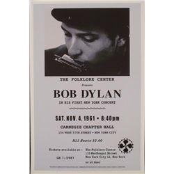 Bob Dylan, Carnegie Hall, 1961 Repro Concert Poster