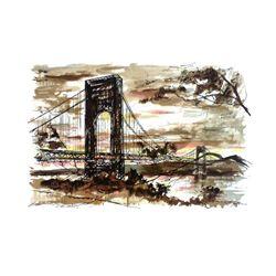 John Haymson : George Washington Bridge in the Evening
