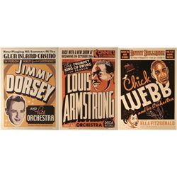 3 Jazz Concert Repro Posters Armstrong Dorsey Webb