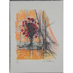 McClannahan Signed Art Print Flower Vase on Windowsill