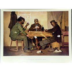 Irving Sinclair The Poker Game Black Americana Print