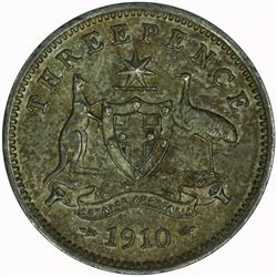 Australia 1910 Threepence - NGC MS62