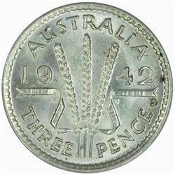 Australia 1942 S Threepence - NGC MS63
